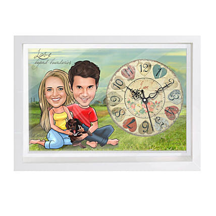 Online Couple Caricature Wall Clock
