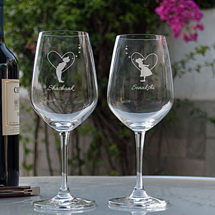 Customised Wine Glasses Online:Send Personalised Wine Glasses