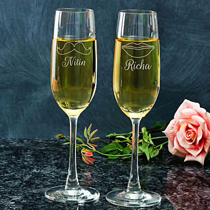 Customised Champagne Glasses For Couple