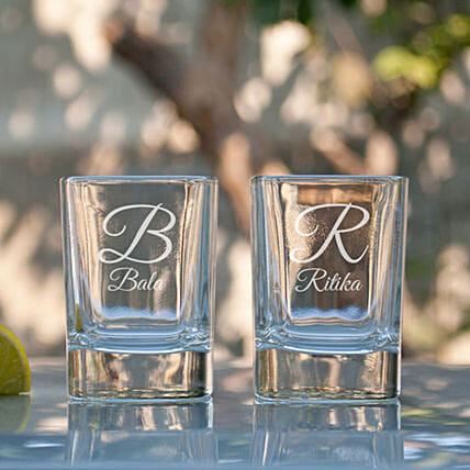 Customised Shot Glasses For Couple:Bar Accessories