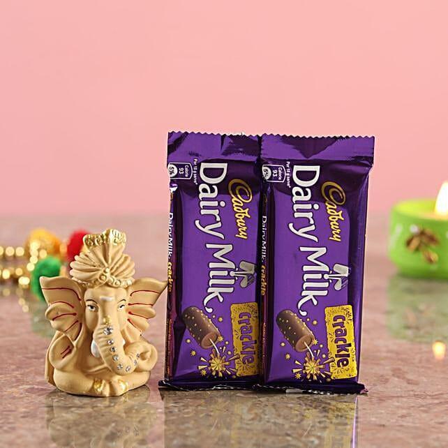 Crackle Chocolates Beige Ganesha Idol