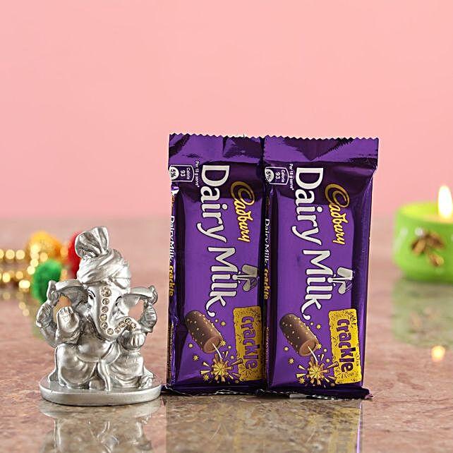 Crackle Chocolates Silver Ganesha Idol