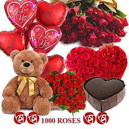 Crazy in Love - Grand hamper with 1000 red roses, 1kg Five star bakery chocolate cake, Big archies n heart shaped balloons.:Roses And Teddies
