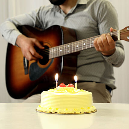 Online Butterscotch Cake And Romantic Tunes Combo