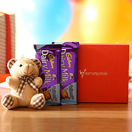 cute teddy n dairy milk for anniversary:Soft Toys