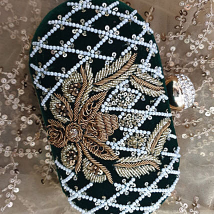 Customised Banarsi Silk Embroidery Clutch 8 X 4 cms
