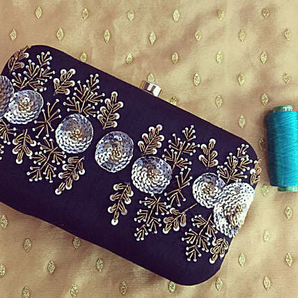 Customised Black Embroidery Clutch Bag