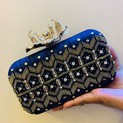 Customised Black Velvet Women Clutch Bag