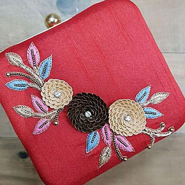 Customised Designer Red Clutch Bag
