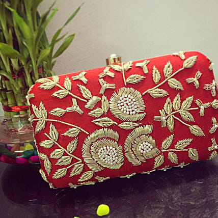 Customised Embroidery Red Clutch Bag 8 X 4 cms