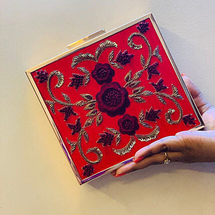 Customised Red Banarsi Silk Clutch Bag:Women's Clutches