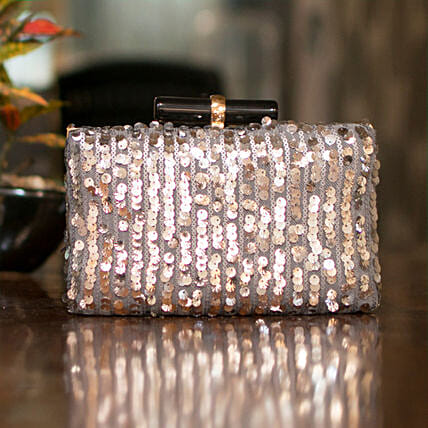 Customised Silver Women Clutch Bag:Women's Clutches