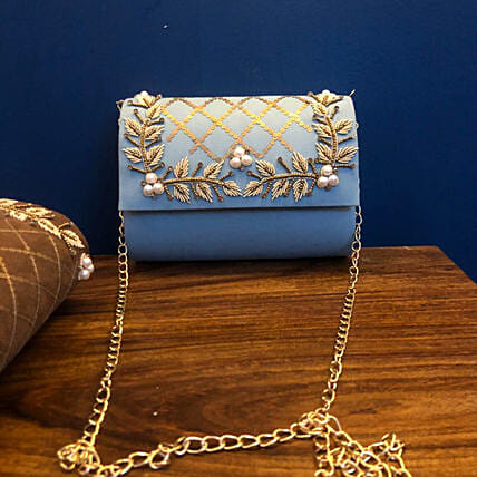 Customised Sky Blue Suede Clutch Bag
