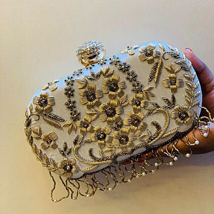 Customised White Clutch Bag for Women