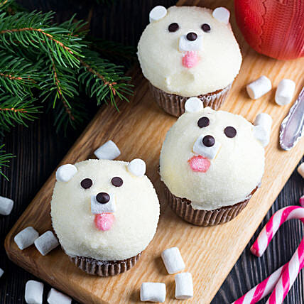 Cute Bear Cup Cake:Romantic Couple Cake