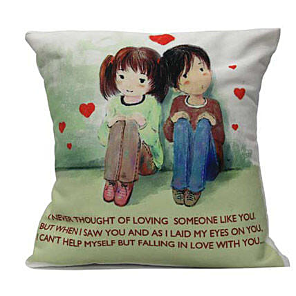 Cute Couple With Cushion Comfort-12x12 inch cute couple printed cushion with love message
