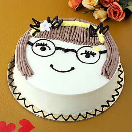 Cute Girl Chocolate Cake