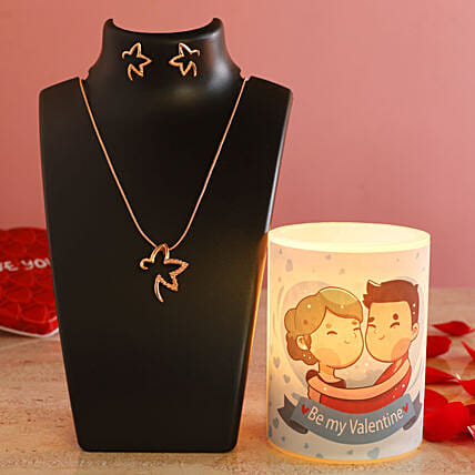 Cute Graphic Hollow Candle Pretty Necklace Set:Send Gifts for Hug Day