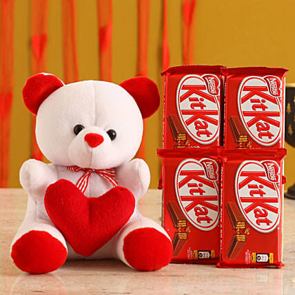Valentines Teddy Bear & Chocolates for Her