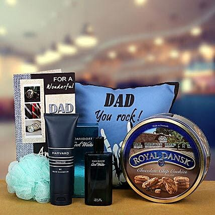 Combo of cushion, cookies, greeting card, perfume and shower gel for dad:Premium Gifts