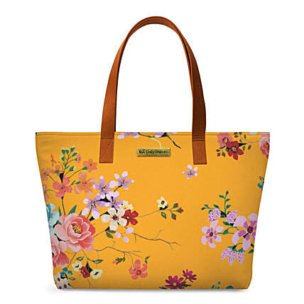 Online Mustard Floral Fatty Tote Bag:Tote Bags Gifts