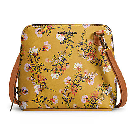 Online Mustard Flowers- Trapeze Crossbody Bag