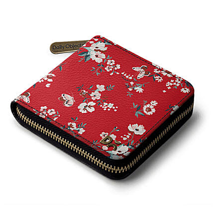 Online Red Buterflies Zip Wallet