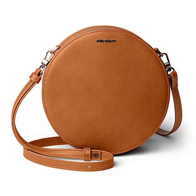 Online Tan Vegan Leather- Orbis Crossbody Bag