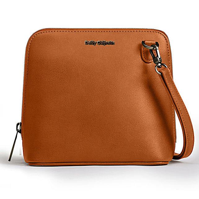Online Tan Vegan Leather- Trapeze Crossbody Bag