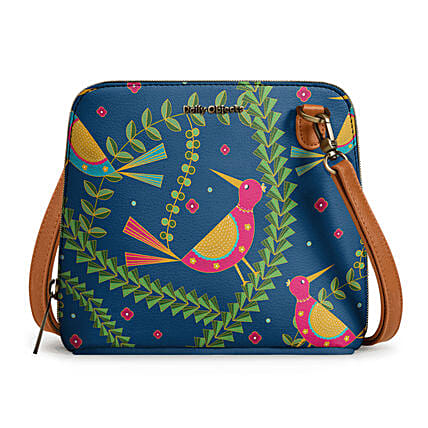 Online Teal Birds- Trapeze Crossbody Bag