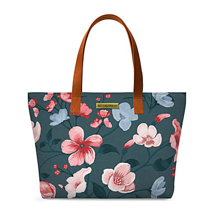 Online Teal Blooms Fatty Tote Bag