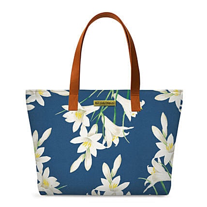 Online White Lillies Fatty Tote Bag