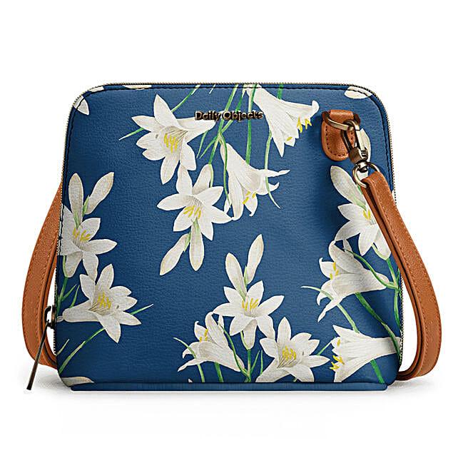 Online White Lillies- Trapeze Crossbody Bag