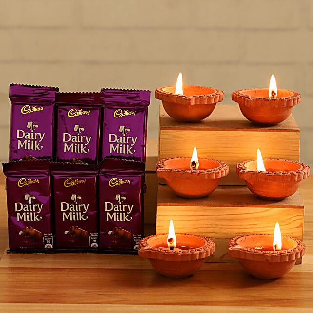 Dairy Milk Chocolates With Festive Diyas:Buy Cadbury Chocolates