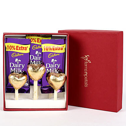 Dairy Milk & Handmade Chocolate in FNP Red Box:Send Handmade Chocolates
