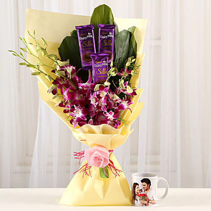 Online Dairy Milk & Orchids With Personalised Mug:Gift Combos For Anniversary