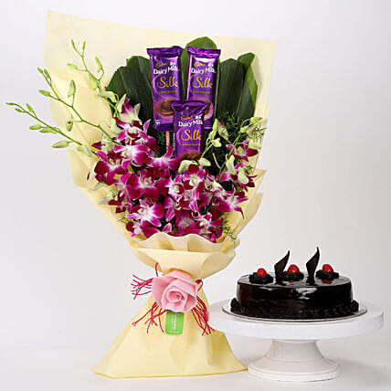 Online Dairy Milk & Orchids With Truffle Cake:Cakes and Chocolates