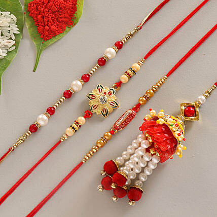 4 rakhi set for bahiyas:Designer Rakhi