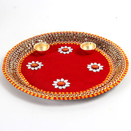 lovely red pooja  thali:Send Pooja Thali to Hyderabad
