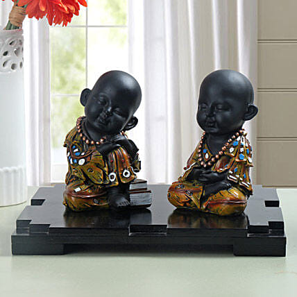 Sleeping and meditating monk showpiece:Feng Shui Gifts