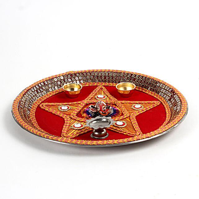star pattern pooja thali