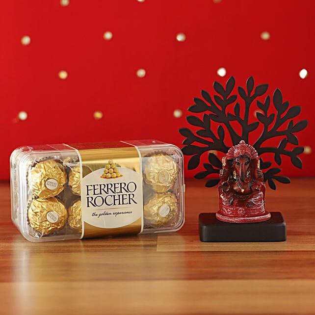 Deep Red Ganesha Idol & Ferrero Rocher Combo