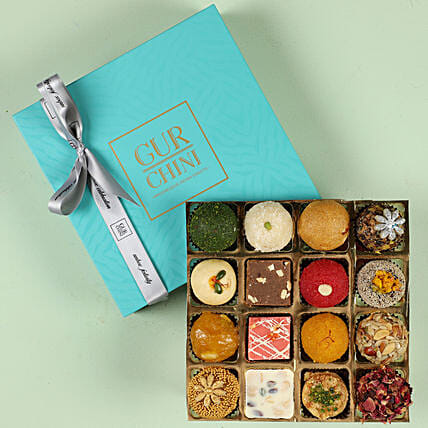 Delicious Exotic Mithai In Blue Box 16 Pcs