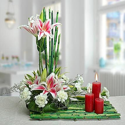 Flower arrangement and candles:Buy Candles