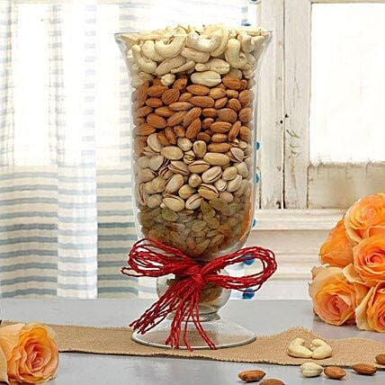 Mixed dry fruits in a glass vase:Karva Chauth Sargi Gifts