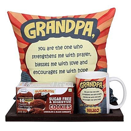 Delightful Grandpa Combo-1 Wooden Platter,1 White Printed Mug,Sugarless and Digestive Cookies 100 grams,1 White Printed Cushion 12X12 inches