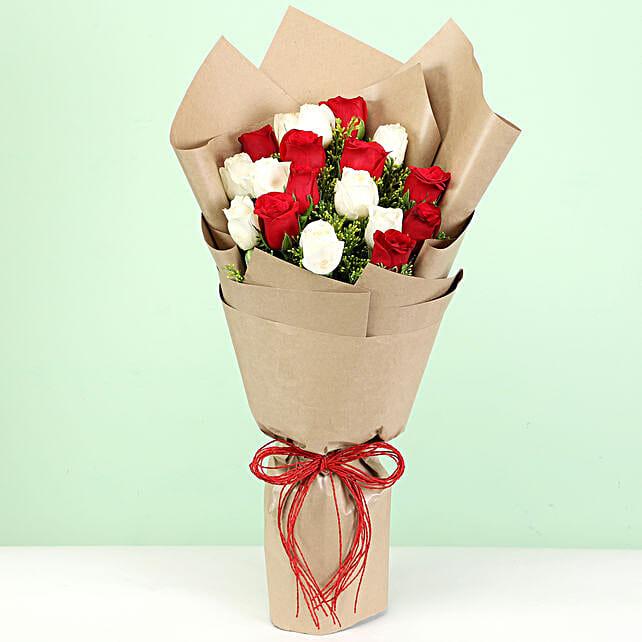 elegant red n white carnations bouquet for him:Flowers to Vizianagaram