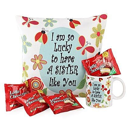 Delightful Sister Combo-12X12 inches Cushion,1 Mug,both with the message,I am so lucky to have a sister like you,4pcs Lotto Choco Pie Pack