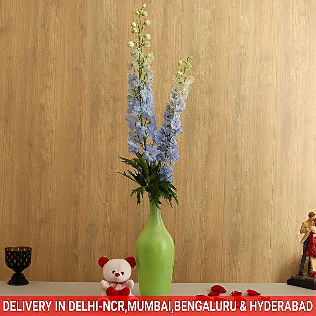 Delphinium in Vase with Teddy Bear
