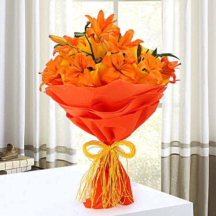 Orange lilies bouquet
